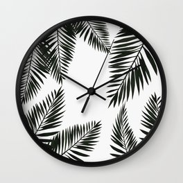 Black Watercolor Tropical Leaves Wall Clock