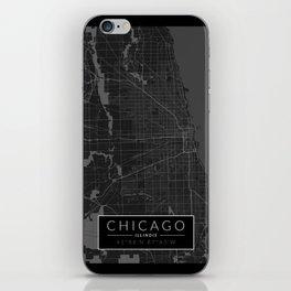 Chicago Map - Black and White (Dark) iPhone Skin
