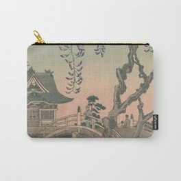a Bridge and a House. Ukiyoe Landscape Carry-All Pouch