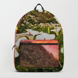 'Calla Lily Sunrise at Big Sur' Portrait Painting by Jeanpaul Ferro Backpack