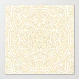Pale Yellow Simple Simplistic Mandala Design Ethnic Tribal Pattern Canvas Print