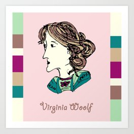 Virginia Woolf - hand-drawn portrait Art Print