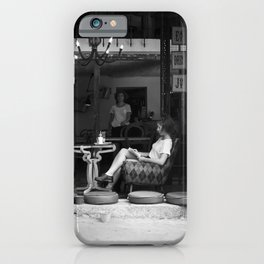 Morning coffee in a cafe - Black and white street photography iPhone Case