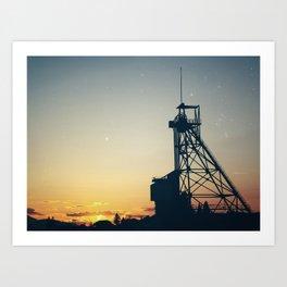 Butte Gallows Frame Under The Stars Art Print