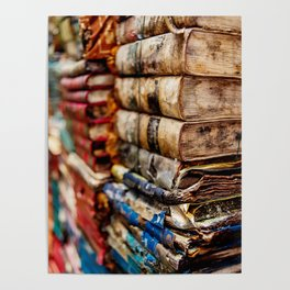 Stacks and stacks of books, Venice Italy Poster