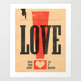 """LOVE!"" Vintage Letterpress Poster Art Print"