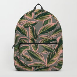 Calathea Leaves Pattern- Pink Green Gray Backpack