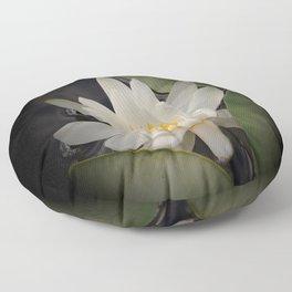 White Waterlily On A Dark Background #decor #society6 #buyart Floor Pillow
