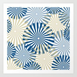 Modern Abstract Fireworks Pinwheel Line Art in Classic Blue and Warm Beige Art Print