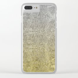 Silver and Gold Glitter Gradient Clear iPhone Case