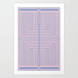 All Roads - Rose Quartz and Serenity Op-Art Art Print