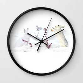 White rabbits dancing around red erica in snow mountain. Wall Clock