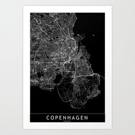 Copenhagen Black Map Art Print