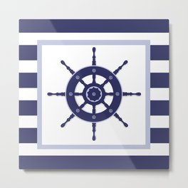 AFE Nautical Navy Helm Wheel Metal Print