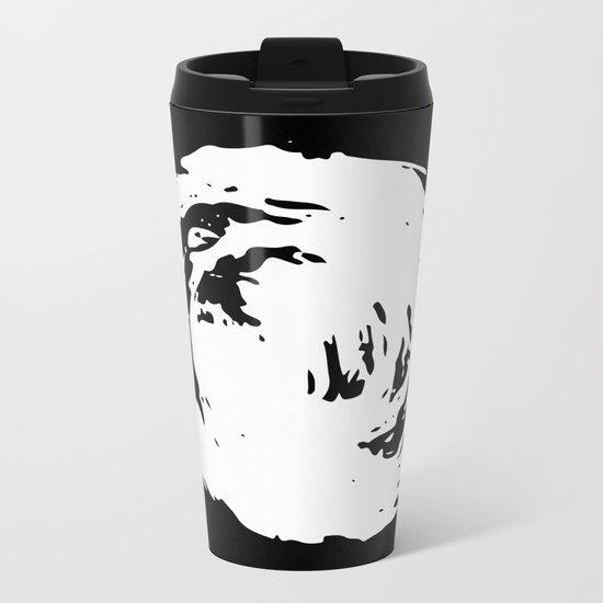 Whorl Black and White Metal Travel Mug