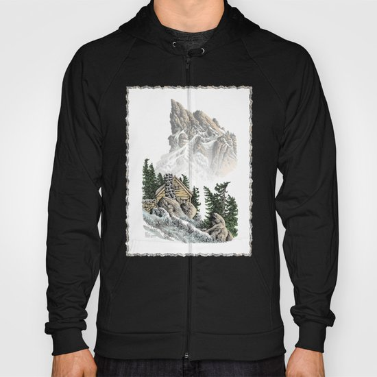 MOUNTAIN CABIN PEN DRAWING FROM THE NORTH CASCADE RANGE Hoody