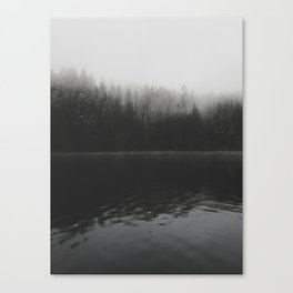 Verticle Frosted Trees Lake Canvas Print