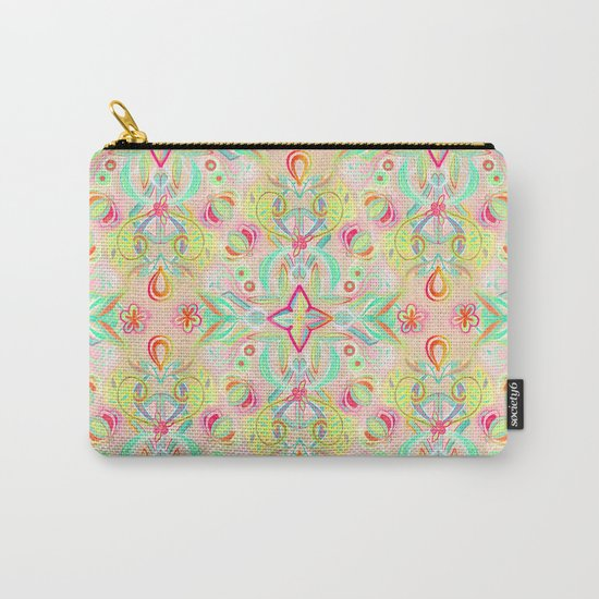 Soft Neon Pastel Boho Pattern Carry-All Pouch