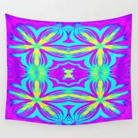 psychedelic Wall Tapestries featuring psychedelic Floral Fuchsia Aqua by 2sweet4words Designs