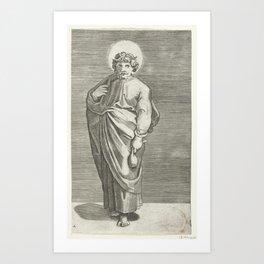 Apostle Matthew with purse, Marco Dente, after Marcantonio Raimondi, Raphael, 1517 - 1527 Art Print