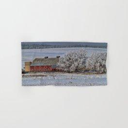 Red Barn in Winter Hand & Bath Towel