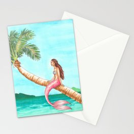 Mermaid on a Palm Tree Stationery Cards