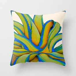 COLORFUL MODERN ABSTRACT AGAVE CACTUS ART Throw Pillow