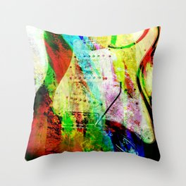 Abstract Electric Guitar Throw Pillow