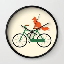 Fox Riding Bike Wall Clock