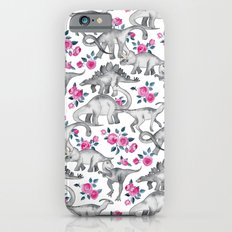 Dinosaurs and Roses - white iPhone 6 Slim Case