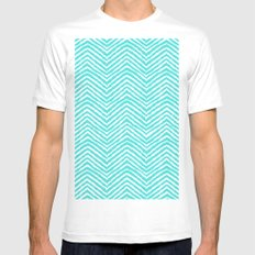 Blue abstract chevron pattern Mens Fitted Tee White LARGE
