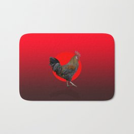 Polygonal Rooster leghorn cock on the red sun Bath Mat