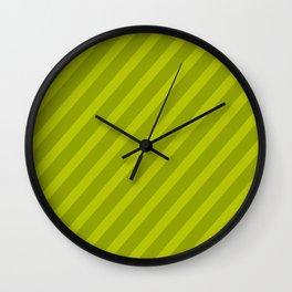 Green Diagonal Stripes Wall Clock