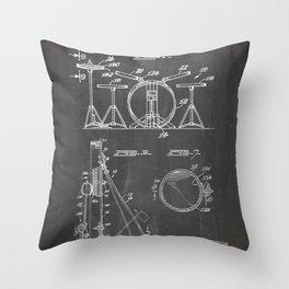 Drum Set Patent - Drummer Art - Black Chalkboard Throw Pillow