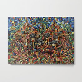Juju Dance Group Painting from Africa Metal Print