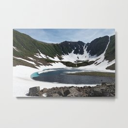 Summer mountainous landscape, beautiful view of Blue Lake with ice and snow along shores of lake Metal Print