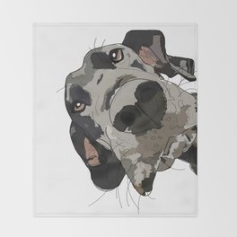 Great Dane dog in your face Throw Blanket