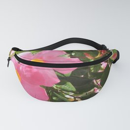 Pink Clematis Flowers in the Sun with Green Vines Fanny Pack
