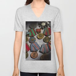 RussianMedals_Afghanistan Unisex V-Neck