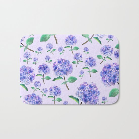 purple blue hydrangea in purple background Bath Mat