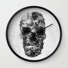 Town Skull B&W Wall Clock