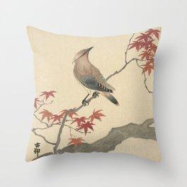 Japanese Maple Songbird  Throw Pillow