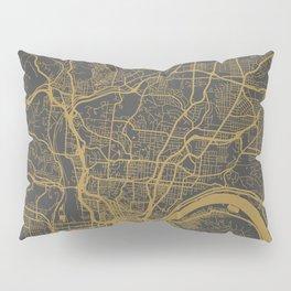 Cincinnati map ocher Pillow Sham