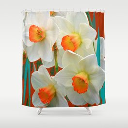 WHITE-GOLD NARCISSUS FLOWERS BLUE-BROWN Shower Curtain
