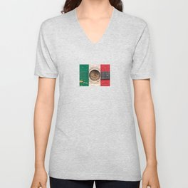 Old Vintage Acoustic Guitar with Mexican Flag Unisex V-Neck