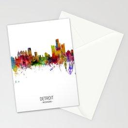 Detroit Michigan Skyline Stationery Cards