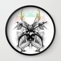 wild things Wall Clocks featuring Wild Things by MadeByLen