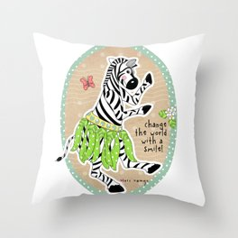Change the World with a Smile Throw Pillow