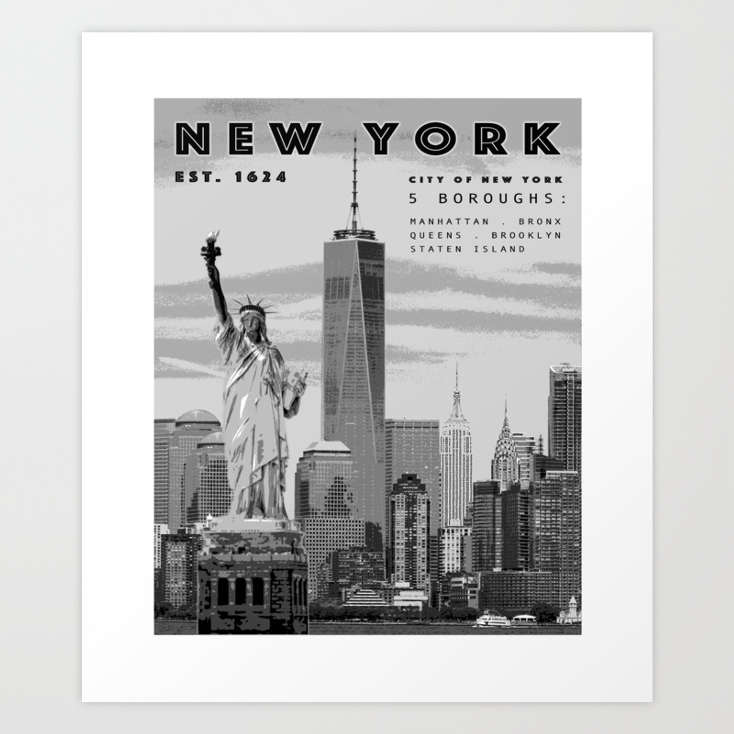 Nyc poster print black and white art print