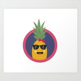 Cool pineapple with sunglasses Art Print